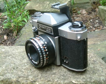 Vintage 1965 Praktica Nova 35mm SLR Camera with Meyer Optic Domiplan 50mm Lens