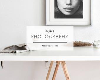 Frame mockup, styled frame mockup, white frame mockup, wooden frame, minimalist frame, digital frame, mockup