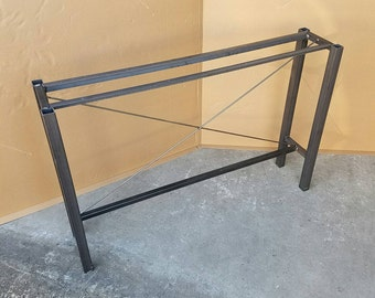 Welded steel console, hall, sofa table base. Fully customizable