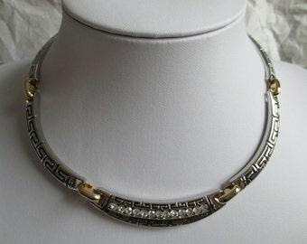 Greek Key Clear Rhinestone Silver & Gold Tone Articulated Collar Necklace SALE