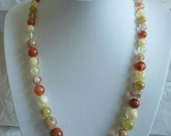 Vintage Large Bead Necklace Plastic Beads Marbled Swirl Autumn Fall Brown Green Cream