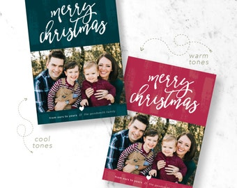 Brush Strokes Christmas Holiday Photo Cards