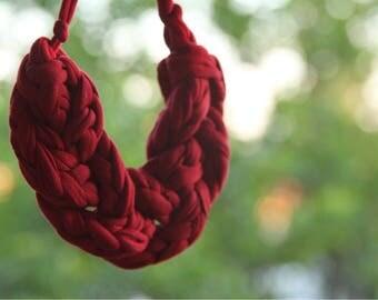 Braided chunky crochet necklace, crochet bib, chunky crochet