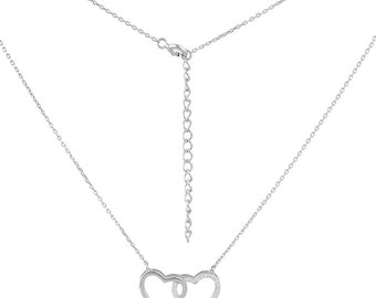 Necklace 2 heart 925 Sterling Silver Friendship love unity eternity glitter