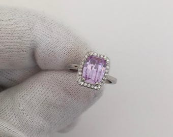 TAIPAN ladies silver ring with amethyst and cubic zirconia stones from genuine 925 sterling silver cocktail ring engagement
