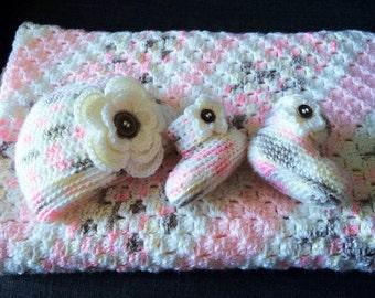 Crochet Baby Flower Blanket, Hat and Booties