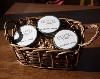 Raw honey taster basket - three artisanal honey samples