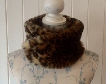 Faux Fur, Leopard Print, Collar, Scarf, Snood