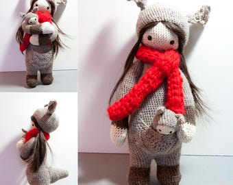 Doll Girl with baby Kangaroo, crochet