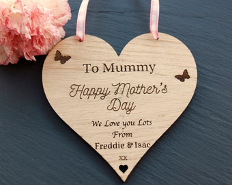 Personalised Mother's Day Gift, Mother's Day Heart Plaque, Mother's Day Hanging Decoration, Personalised Wooden Heart Plaque, To Mummy Gift