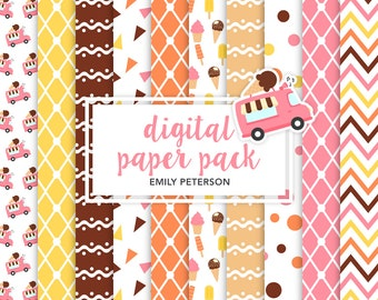 Ice Cream Truck, Ice Cream, Ice Lolly - Cute Background, Digital Papers - Commercial Use, Instant Download
