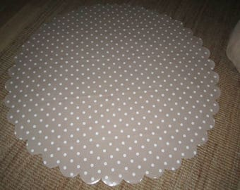 New wipeable  TABLE CLOTH oil cloth table cloth, Coffee / white  Polka dot  DOTTY ,round rectangular scallop edge , great for in / outdoor