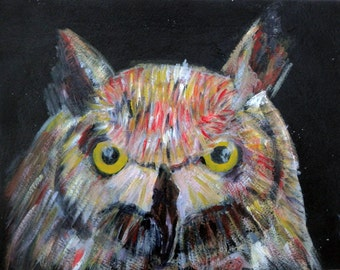 Owl print, owl wall art, owl painting, owl gift, owl portrait, owl gift, wild bird