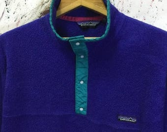 SALE 25% Vintage 80s Patagonia Snap Fleece Pullover Jacket Made In Usa