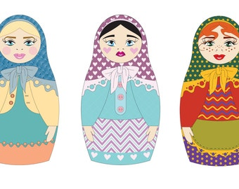 Cute Babushka Russian Doll Clipart Matryoshka Nesting Doll