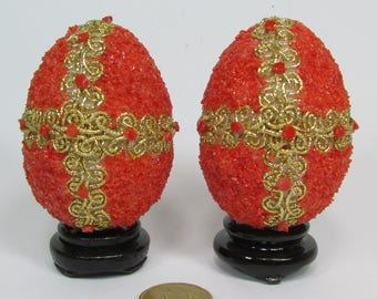 Couple Easter eggs in coral