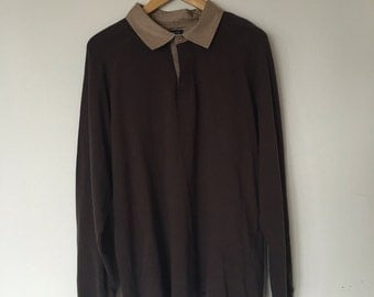 TRIBUTE - Pullover - Lightbrown collar - Brown