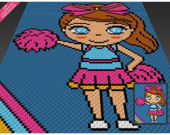 Little Cheerleader crochet blanket pattern; c2c, knitting, cross stitch graph; pdf download; no written counts or row-by-row instructions