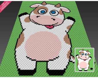 Happy Cow crochet blanket pattern; c2c, cross stitch; graph; pdf download; no written counts or row-by-row instructions