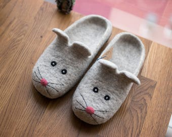 Birthday gift for her, Mouse shoes, Felted Mouse slippers, House Shoes Wool slippers Felted slippers Funny kids slippers grey wool slippers