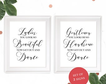 Wedding Bathroom Sign-Set of 2 Customized Elegant Ladies & Gentlemen Wedding Restroom Sign-Calligraphy Style Beautiful and Handsome Sign