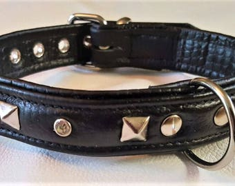 Black on Black leather studded dog collar with Diamantes and Black Stitching