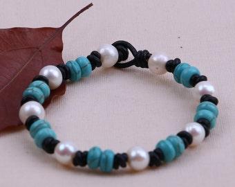 "Handknotted Freshwater Pearl Bracelet,Turquoise Bracelet,Natural Stone Jewelry,Blue Beads Bangle,Handmade Women Bracelet,8"" Wrist Band,B009"