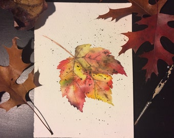 Autumn Leaf Watercolor