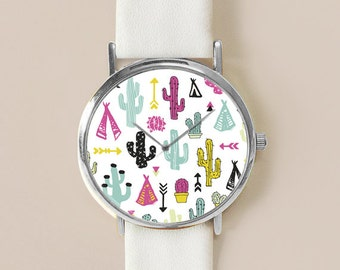 Cactus Plant Watch, Cactus Jewelry, Vintage Style Leather Watch, Women Watches, Succulents Men's watch, Cactus Print, Watches, Gift