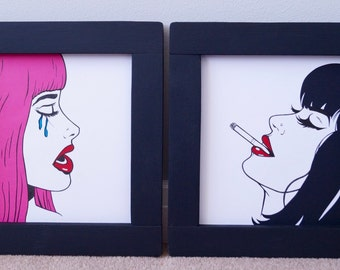 Hand drawn Pop Art drawings, sold as pair, handmade frames, pallet furniture, paper cutting