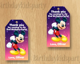 Mickey Mouse Favor Tag, Mickey Mouse Thank You Tags, Personalized, Digital File