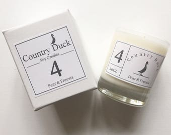 Pear & Freesia Soy Boxed Candle - 20cl Hand made in Devon. Eco friendly vegan candle.