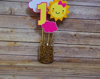 You Are My Sunshine Centerpiece Happy Birthday Sunshine Party Decor Photo Prop Suns Pink Yellow And Gray Decorations I am One Its a Girl