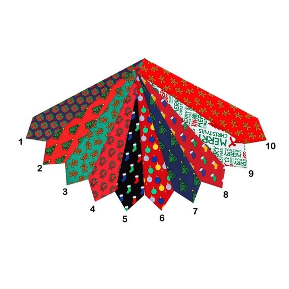 Assorted selection of Men's Holiday Chrismas Ties Black Blue Green Red White