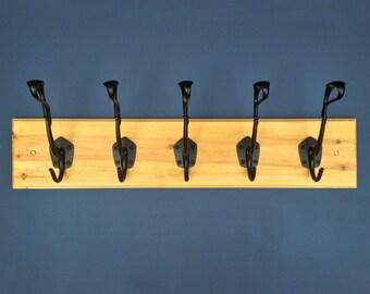 5 Hook Wooden Coat Rack