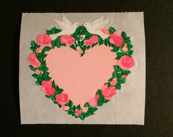 Sandylion vintage rare kromekote/paper flower heart sticker