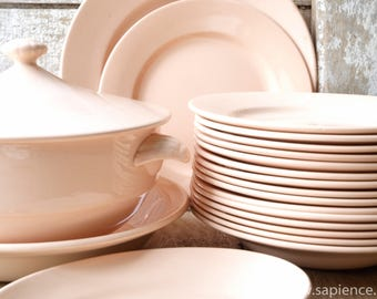 Gorgeous set of 12 vintage French plates powder colored, soft blush, pale pink