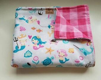 Baby/ Toddler Blanket, Mermaids, Ocean, Starfish, Pink plaid