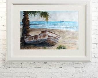 "Printable wall art  Watercolor poster ""Dreams of distant shores"" Home decor"