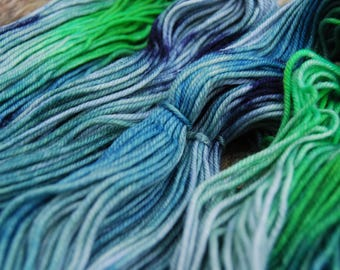 Hand-dyed Superwash Merino Yarn (#3) | Blues & Greems - 100g