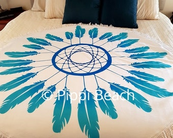 Round dream catcher blanket bed throw towel wall hanging picnic mat