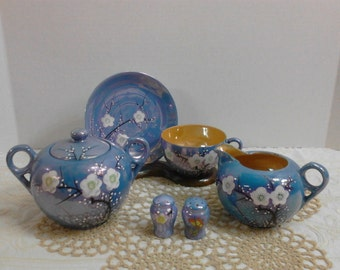 Price reduced * Blue Tea Set with Flowers and Raised Painting