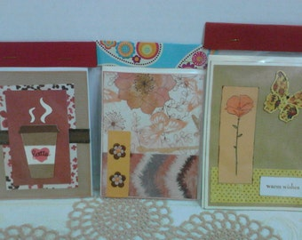 Handmade Cards Set of 3 cards and envelopes