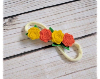 Yellow & Orange Rose Headband | Mini Rose Headband | Toddler Headband | Baby Headband