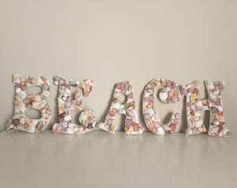 seashell beach letters,seashell letters,signs,seashells,seashell decor,coastal decor,beach,seashell beach,sign,patio signs,beach sign,