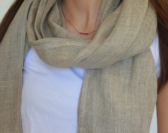 Cheche scarf wrap in gauze of natural linen European color beige taupe