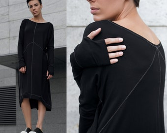 Black loose fit jersey dress. Exclusive. Ethical fashion
