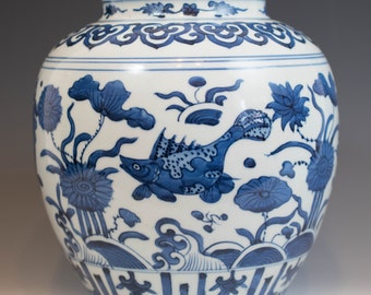 "Superb Chinese Antique 17th Century Ming Dynasty WanLi Period Blue and White ""Fish Pond"" Porcelain Jar Vase"