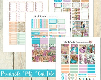 Rodeo Girl Printable Planner Stickers/Weekly Kit/For Use with Erin Condren/Fall Cow Girl Rodeo Country Glam Glitter Boots Western Fashion