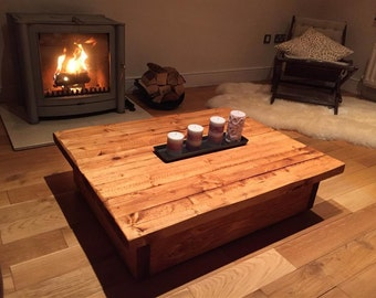 Rustic Coffee Table with Storage 1200mm
